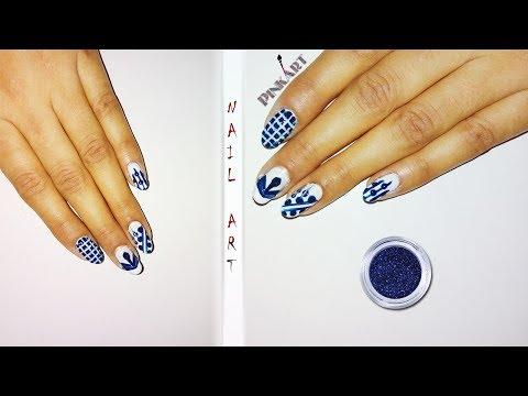 Blue & White Nail Art Tutorial ❤️💅 thumbnail