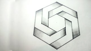 How To Draw 3D Optical Illusions - Impossible Hexagon