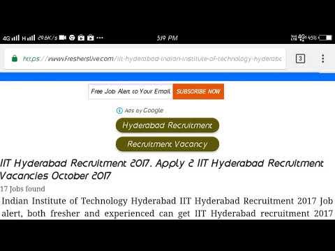 IIT hyderabad Recruitment 2017...Online Apply