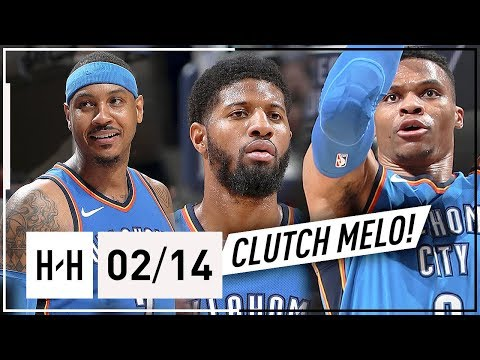 Russell Westbrook, Paul George & Carmelo Anthony BIG 3 Highlights vs Grizzlies (2018.02.14) - EPIC!