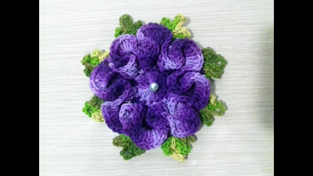 Flor de croch? para aplica??o # Flor Violeta - YouTube