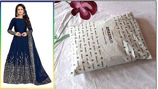 Unboxing and Review Women 39 s Fashion Embroidered Semi Stitched Anarkali Gown
