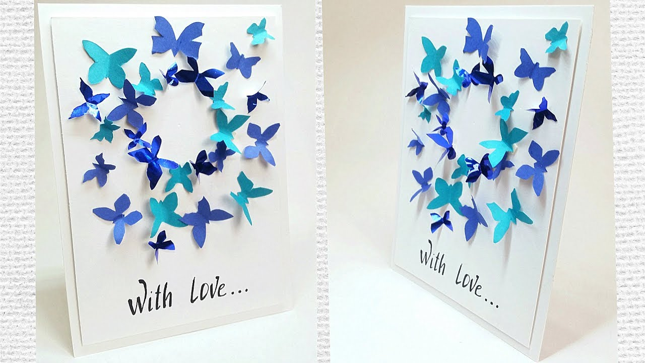Butterfly Greeting Card Design Making Ideas Tutorial Easy For Friend Mom DIY Birthday