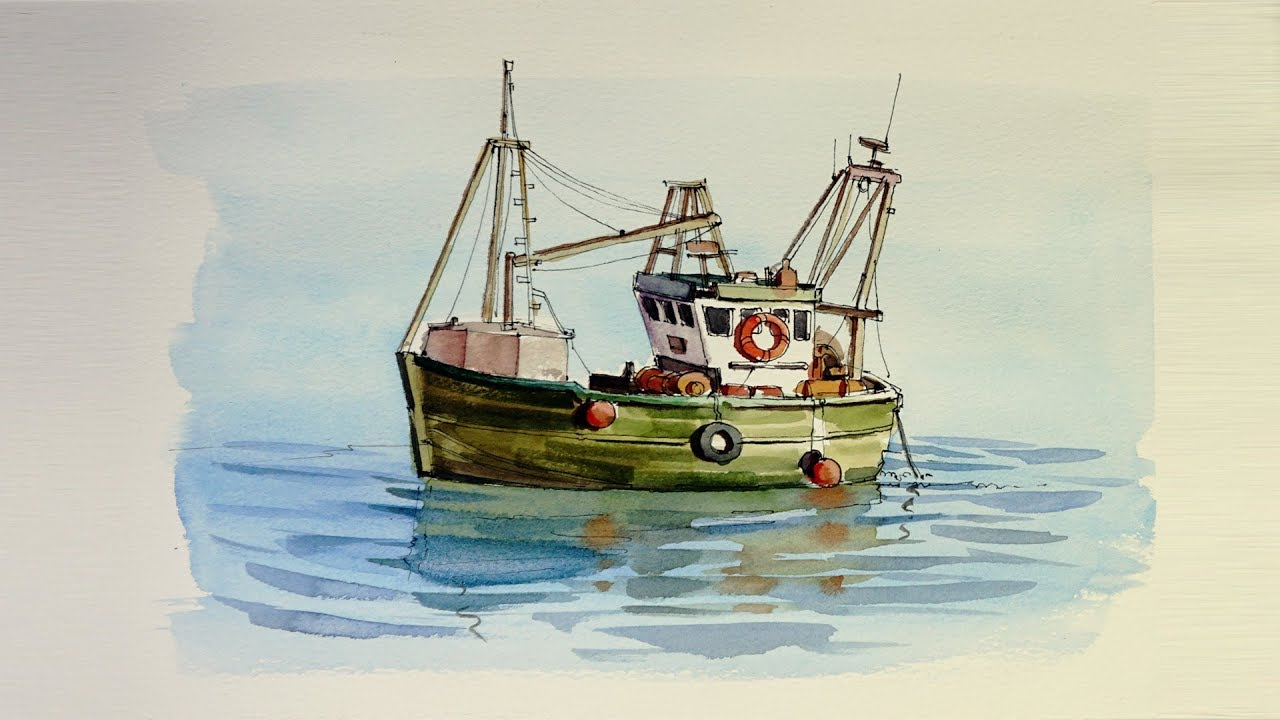 Pen and wash watercolor demonstration small fishing boat for Fishing boat painting