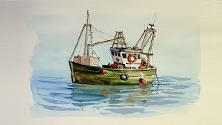 Pen and Wash Watercolor demonstration : Small Fishing Boat