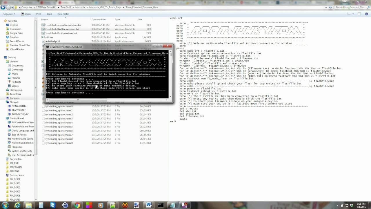 Motorola Firmware XML to Bat Converter Tool for Windows