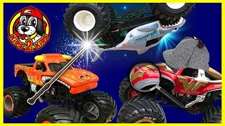 Monster Jam Treasure Scavenger Hunt ft. Detective Wonder Woman & Max D (Megalodon, El Toro Loco)