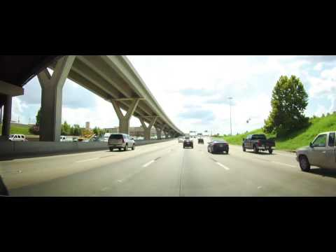 Driving on Interstate 10 through Downtown Houston