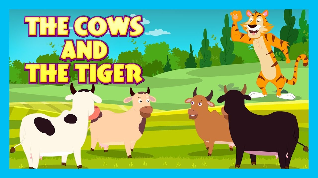THE COWS AND THE TIGER - MORAL STORY FOR KIDS    BEDTIME STORIES - KIDS HUT  STORIES