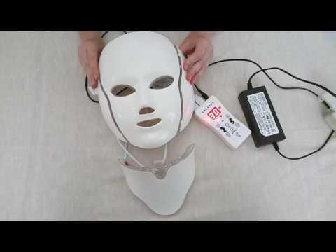 Светодиодная LED Маска для лица и шеи 7 цветов с микротоками