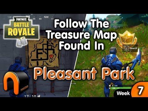 Follow The Treasure Map Found In Pleasant Park - FORTNITE
