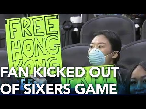 "Michael Berry - Sixers Fan Kicked Out Of Arena For ""Free Hong Kong"" Sign"