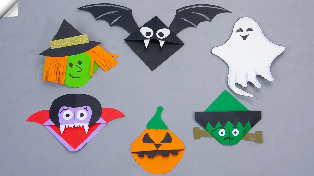 6 craft ideas | HALLOWEEN BOOKMARKS | Paper crafts for school
