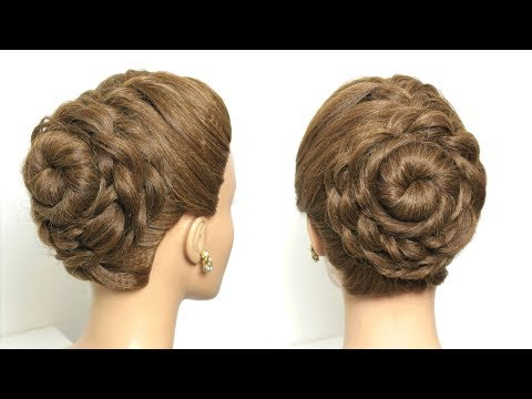Flower Bun Hairstyle For Long Hair Tutorial- Easy updo hairstyles for long hair