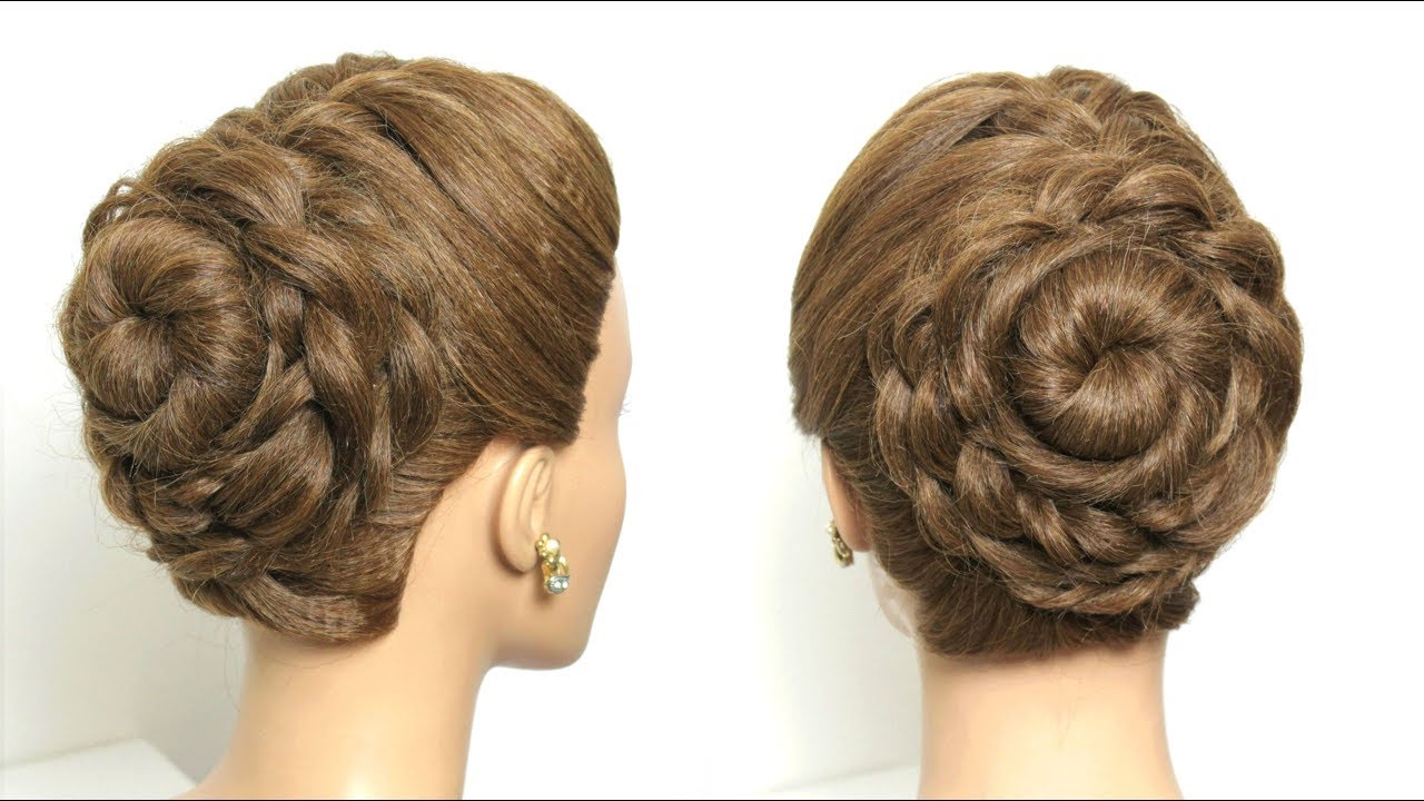 flower bun hairstyle for long hair tutorial. juda style