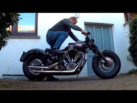 Harley FLH Shovelhead with Dellorto DRLA dual throat carburetor kick start