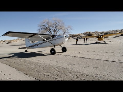 Very Smooth Cessna Beach Landing with nose up taxi Nevada Desert
