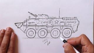 Как нарисовать Ручкой Военную Технику БТР