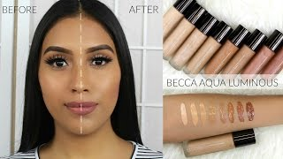 NEW * BECCA AQUA LUMINOUS FOUNDATION FULL REVIEW:DEMO+ SWATCHES OF ALL SHADES