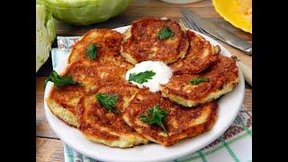 Очень вкусные оладьи из капусты. Постные оладьи. Простые рецепты оладьев из овощей.