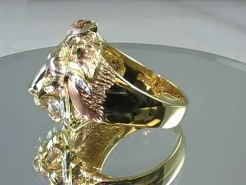 14k Gold Roaring Lion Ring Tri Color Solid 14k Gold with Ruby