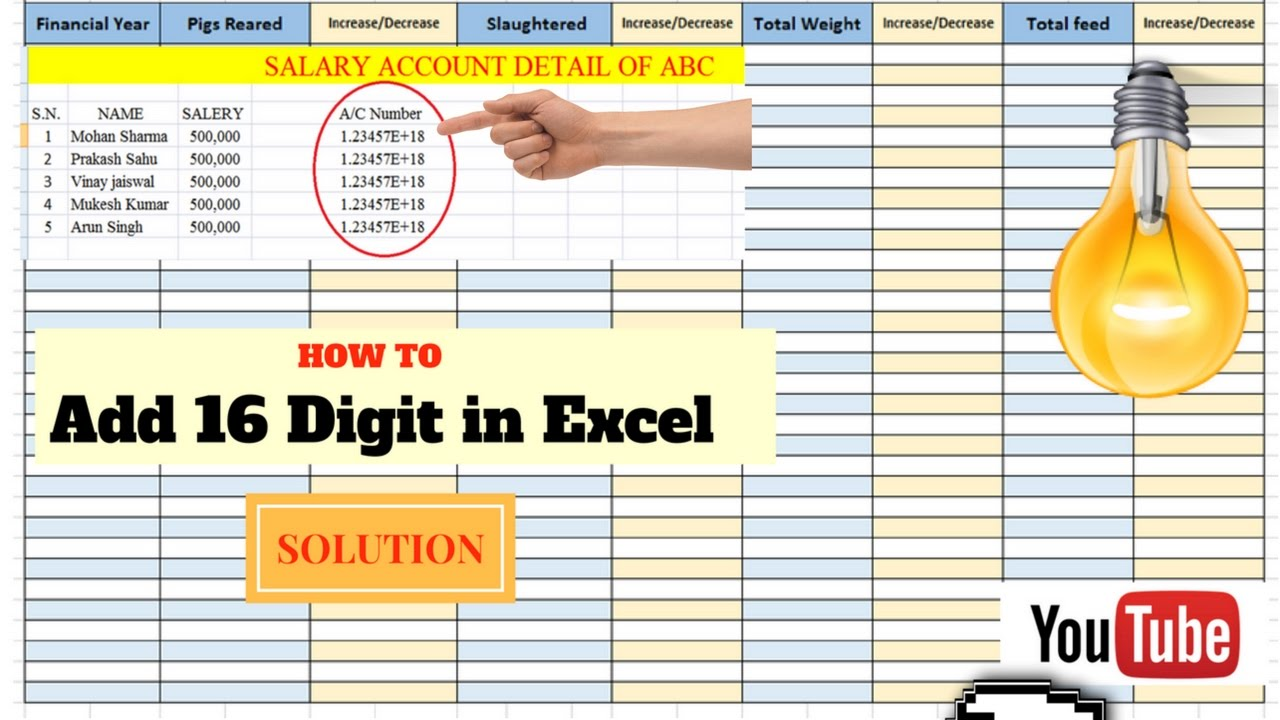 How to Enter Large Digit in Excel ??????? ??? ???? ?????? ???? ?????