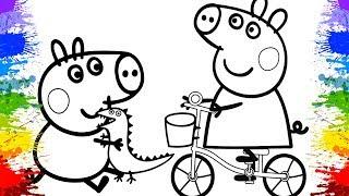 Peppa Pig Português Brasil Jogos de Pintar Desenhos da Peppa Video infantil Brinquedos para crianças