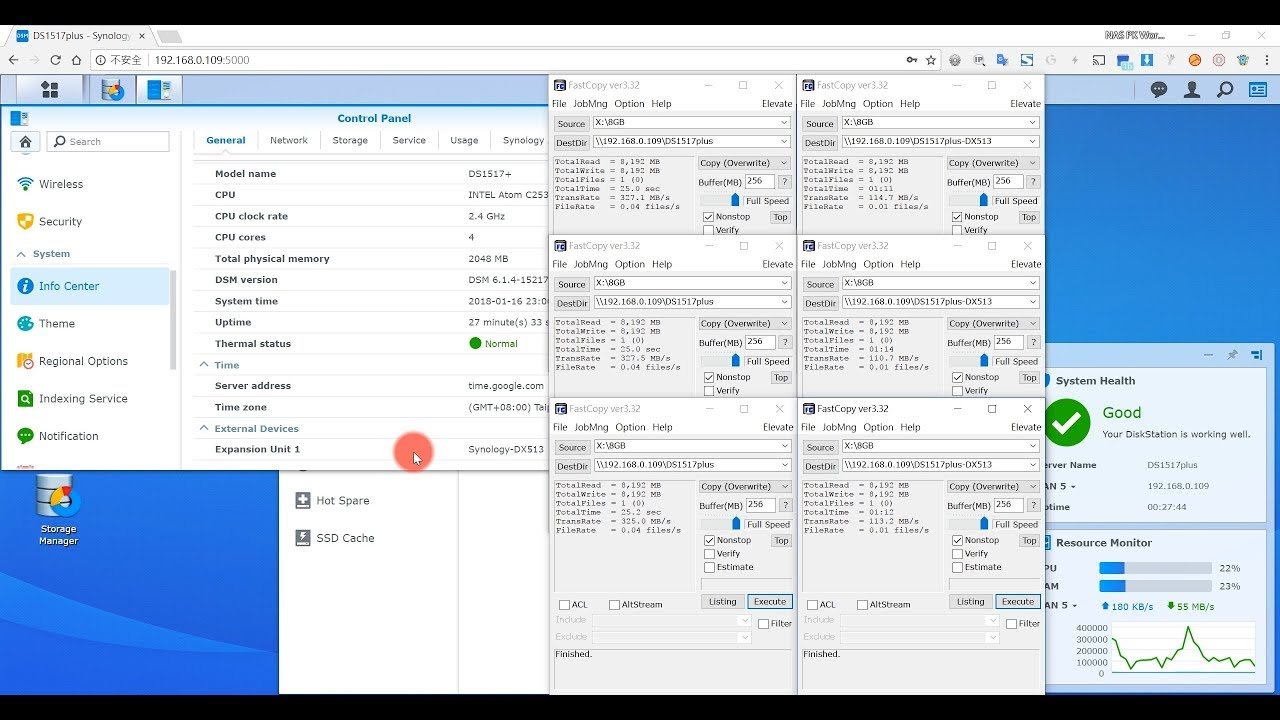 Synology DS1517+ vs DX513 : SMB write performance Test