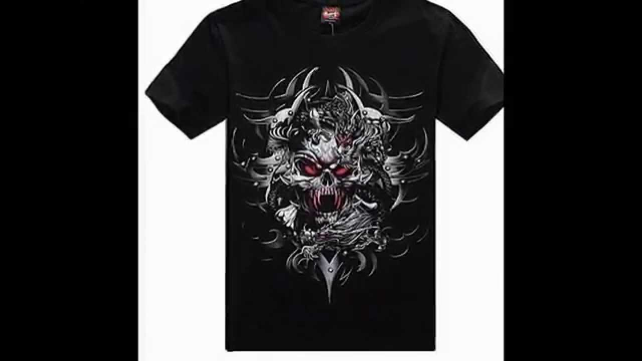T black shirt rock - Mens T Shirt Shirts Biker Heavy Metal Wear Goth Rock Skull Reaper Black Blank