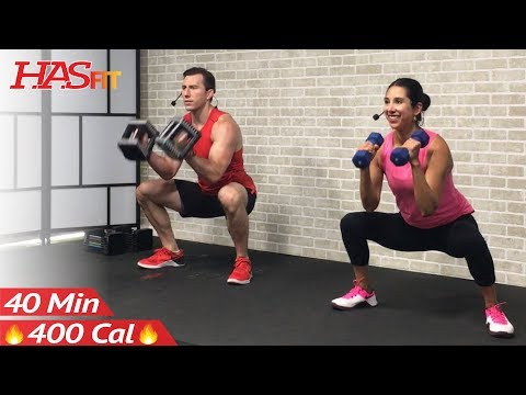 40 Min Total Body Strength Workout for Women & Men - Full Body Dumbbell Workout Home Weight Training