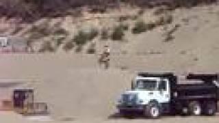 KX65 Ramp jump 25 Feet over dump truck