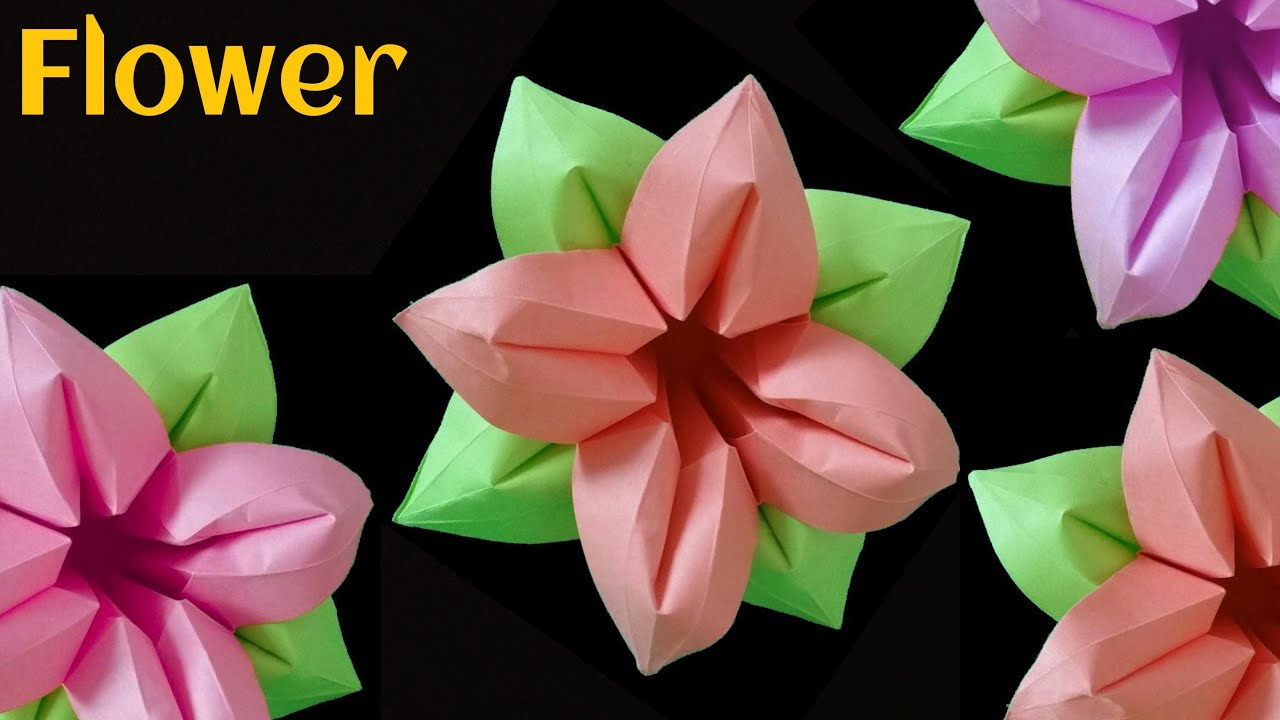 Beautiful Origami Paper Four4 Petals Flower Youtube