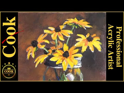 How to Paint Yellow Flowers in A Glass Mason Jar  with Acrylics  Beginner and Advanced Artists