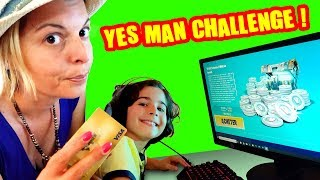 MAMAN DIS OUI A TOUT PENDANT 24H! YES MAN CHALLENGE: 10000 V BUCKS FORTNITE, TOBOGGAN, MAC DO...