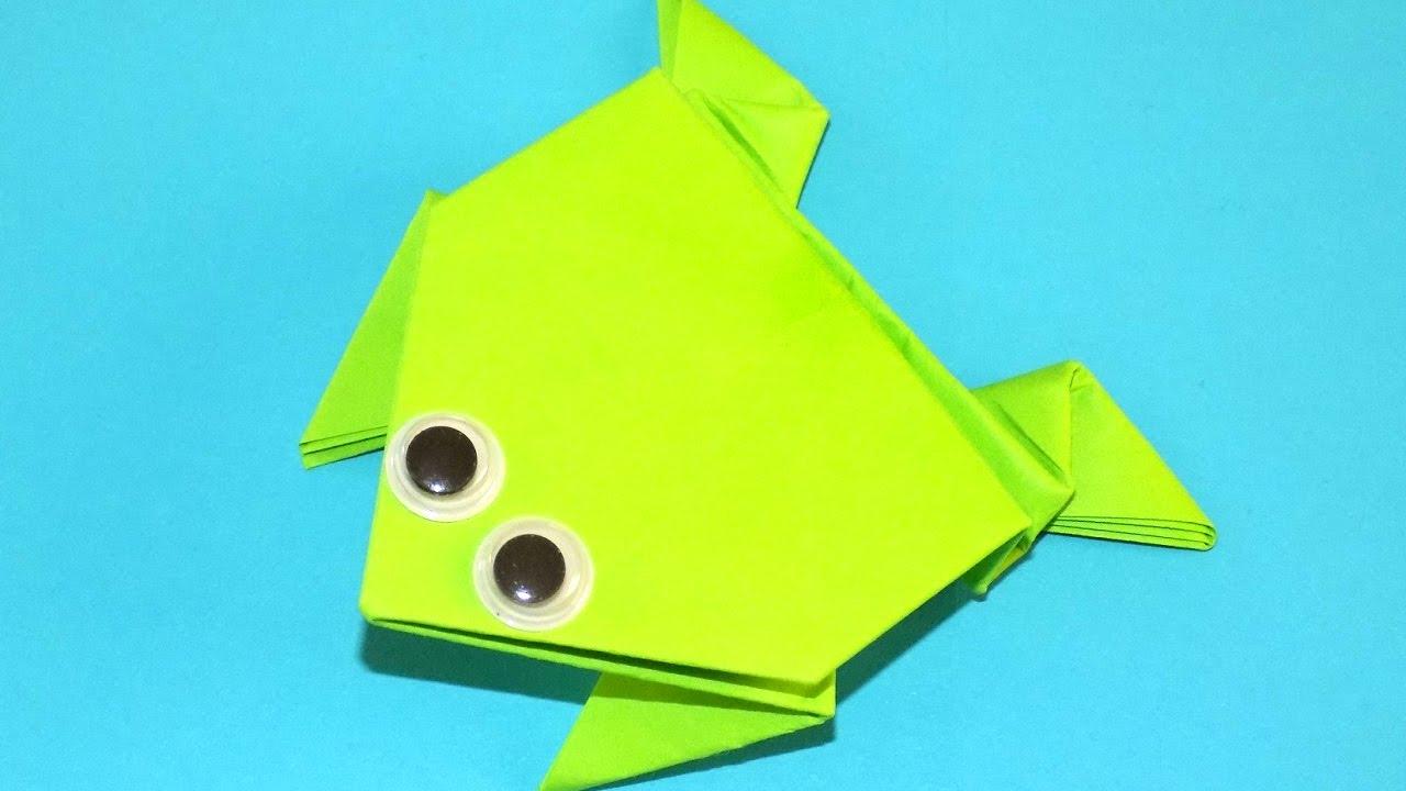 Прыгающая лягушка из бумаги - Оригами из бумаги