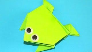 схема як зробити стрибає жабу з паперу