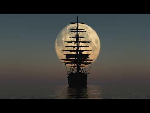 Картинка корабль. Парусник и полная луна, Jpg.