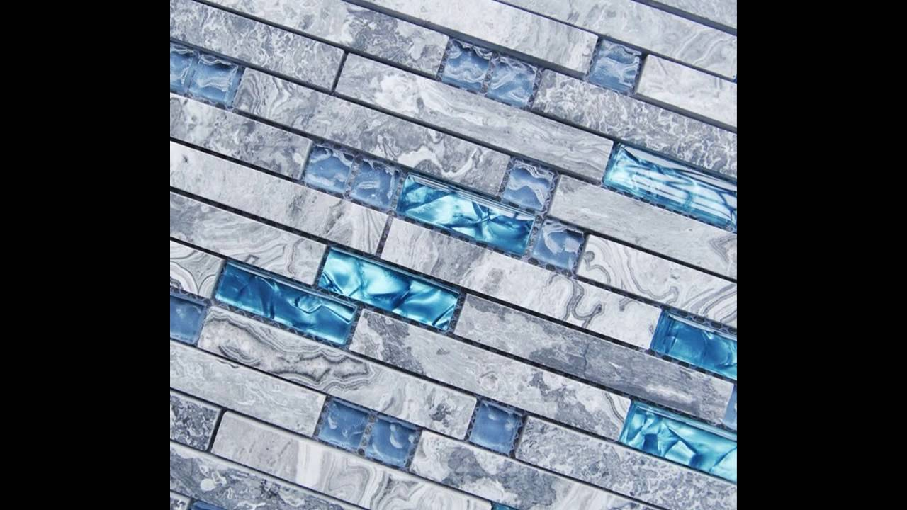Sea Blue Glass Tiles Natural Grey Marble Stone Striped Mosaic Tile ...