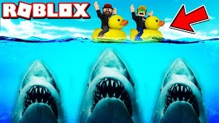 RUNNING DA SHARK ON A DUCK FLOATIES in ROBLOX SHARKBITE / BLOX4FUN