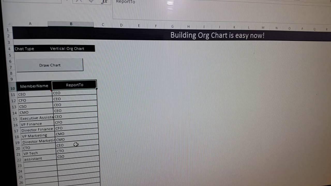 Build org chart in excel through vba also youtube rh