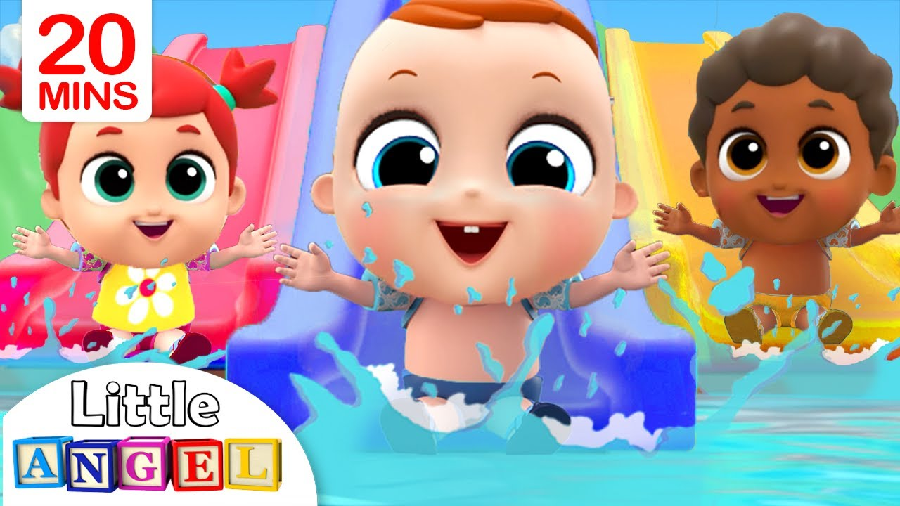 5 Little Babies Playing at the Waterpark   Little Angel Nursery Rhymes