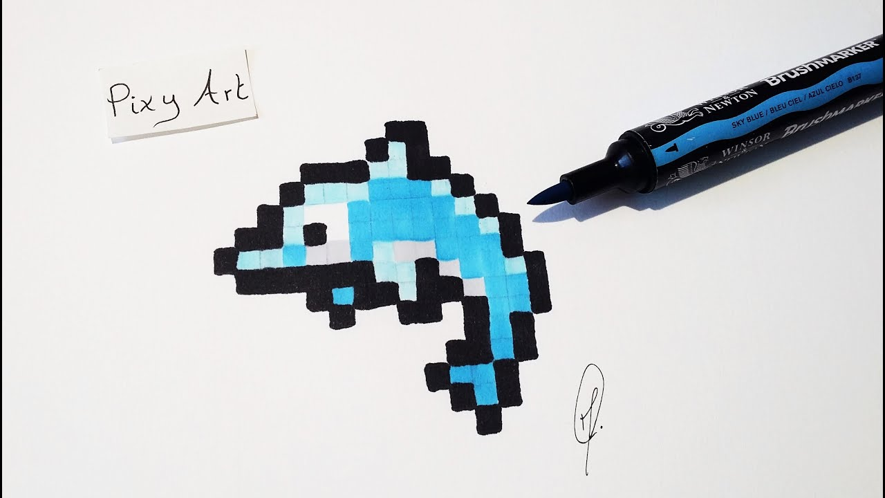 Dolphin Drawing Easy Pixel Art Real Time