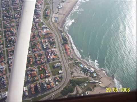 Flight over Mar del Plata city in Argentina