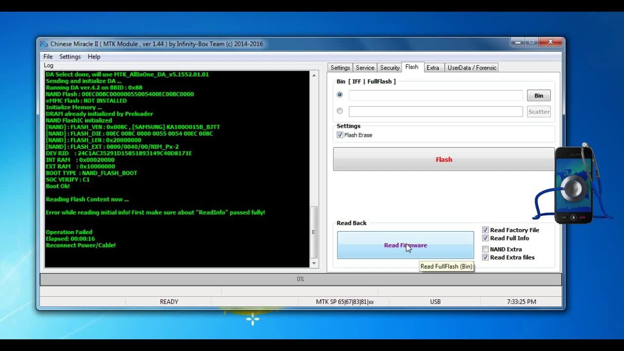 Galaxy J1 SM J100H MT6572 NAND 4 4 4 Read Write firmware Successfully