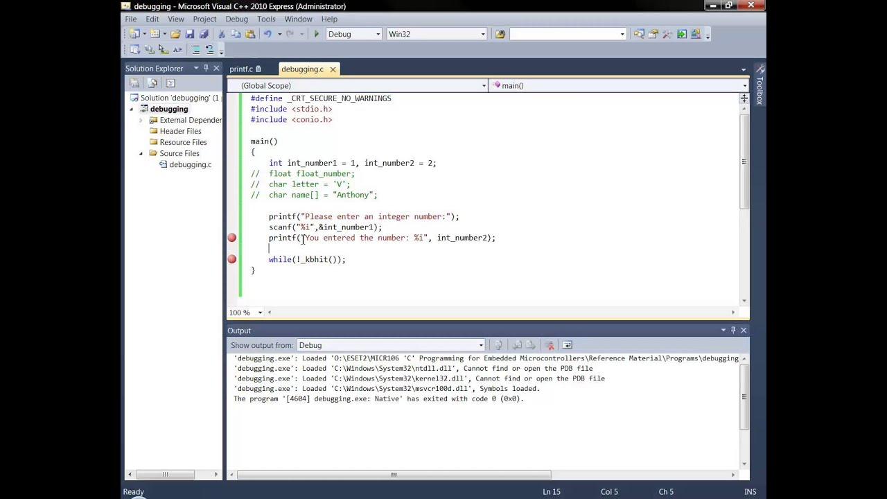 Debugging C Code With Visual C Express 2010 Youtube