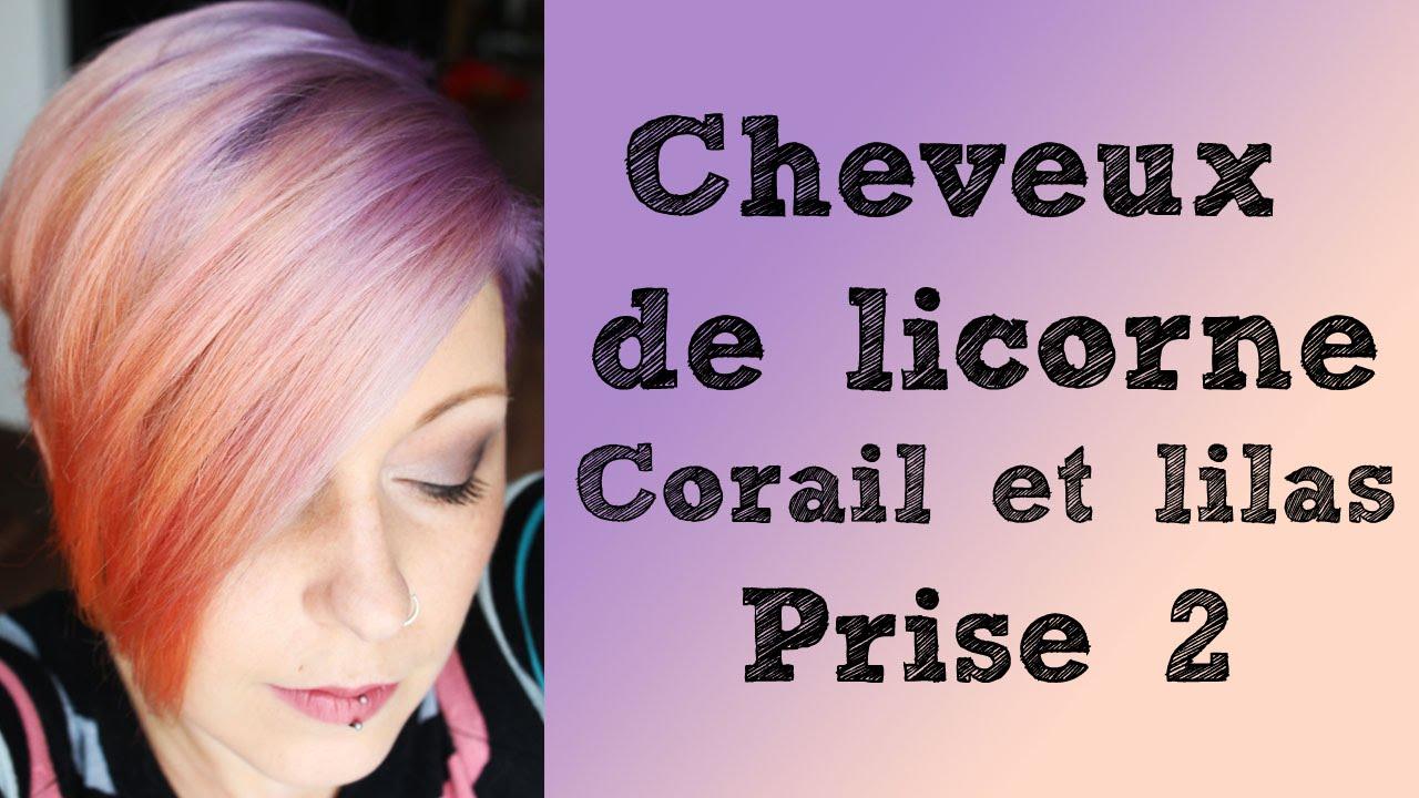 coloration cheveux de licorne lilas et corail prise 2 - Coloration Tigi