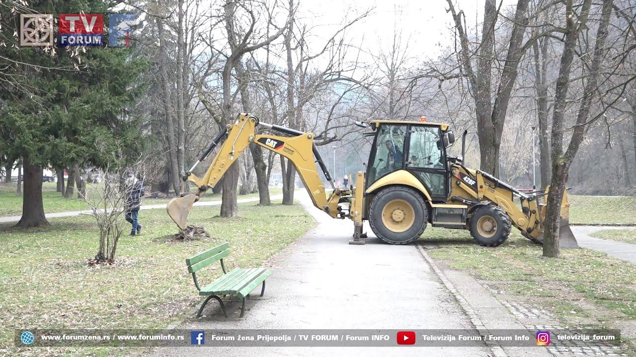 """JKP """"Lim"""" vrši plansku seču i sadnju novih stabala u Parku narodnih heroja  u Prijepolju - YouTube"""