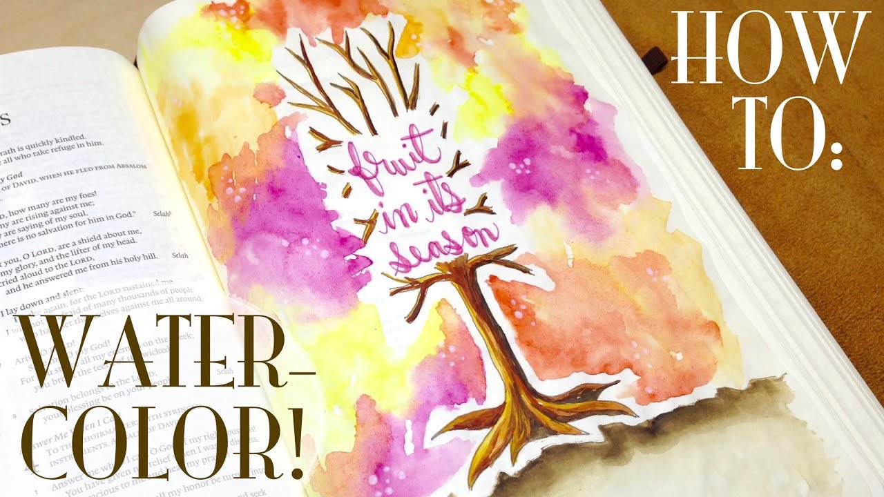 Bible Journaling HOW-TO: Watercolor in Your Bible (Psalm 1) - YouTube