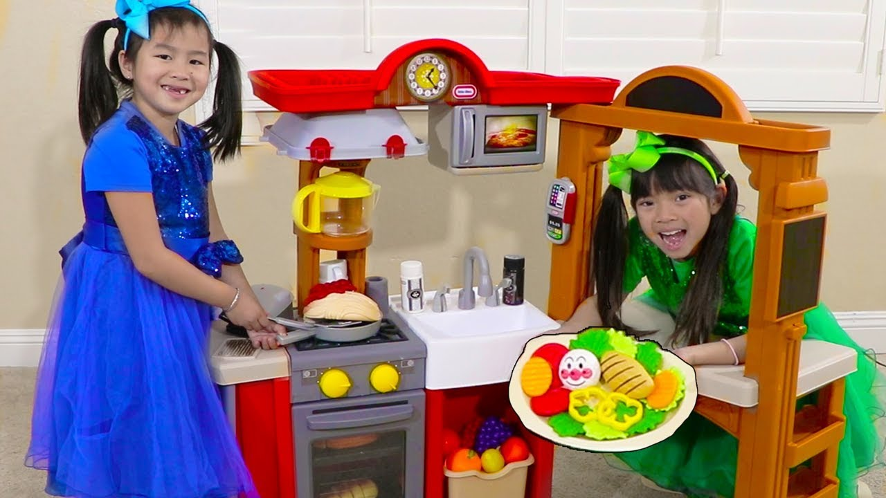 Jannie Emma Pretend Play W Kitchen Restaurant Cooking Kids Toys