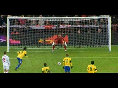 Ronaldinho misses penalty against England (Great save by Joe Hart) 06. 02. 2013. HD
